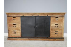 Large Industrial Iron Door & Mango Wood Sideboard - Drawer & Cupboard Storage