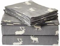 Best Eddie Bauer Elk Grove Cotton Flannel Bed Sheet Set King Size Gray Sheets