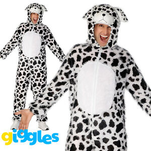 Adult's Dalmation Dog Costume Animal Fancy Dress Ladies Mens Funny Outfit