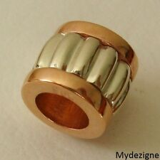 GENUINE SERENITY 9ct SOLID ROSE GOLD and WHITE GOLD CHARM RIDGED BEAD