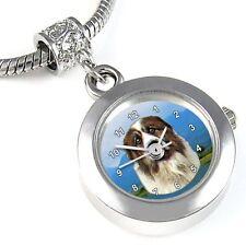Saint Bernard Dog Silver Quartz Watch European Charm Bead For Bracelet EBA53