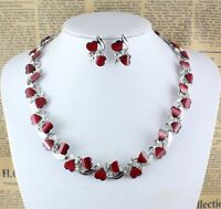 Hot Red Garnet Ruby Topaz 18K Silver/Gold Plated Necklace Earrings Set