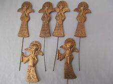 vtg lot 6 Masco angel caroler Xmas ornament pick 5in gold gilt filigree plastic