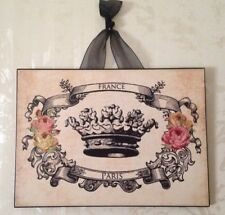 """Vintage Paris France Crown w/ Roses Glitter Postcard Plaque Wall Decor  5""""x7"""""""
