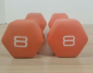Cap Hex Neoprene 8 Lb Pound Pair Dumbbell Weights Training Set of 2 Home Gym
