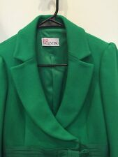 Red Valentino Wool Peacoat Jacket Mid Length Green Bow Double Breasted Sz 40