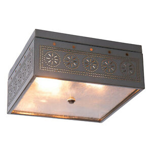 Irvin's Country Tinware Square Ceiling Light with Chisel in Country Tin
