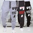 Men New York Print Jogger Dance Sportwear Casual Pants Trousers Sweatpants Retro