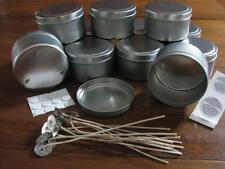 12 x Travel Tin 225gm  Candle Making Supplies + 12 Wicks, Stickums, Warning