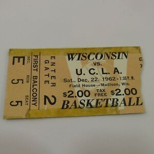 Wisconsin Badgers vs UCLA Vtg Ticket Stub 1962 Basketball Game Field House