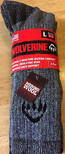 LOT of 2 PAIRS Wolverine Comfort Merino Wool Socks - Size LARGE Mid-Calf USA