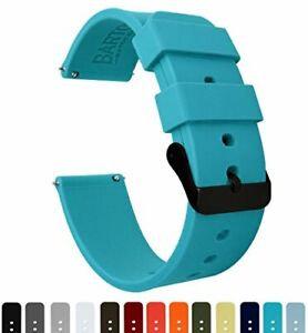 BARTON Watch Bands Soft Silicone Quick Release Black Buckle 16 ,18 ,20 ,22 ,24mm