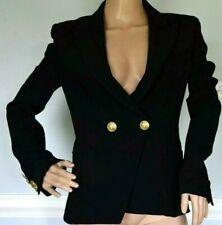 Pierre BALMAIN Double Breasted Viscose Crepe Black Blazer Jacket US 2 4 / FR 36