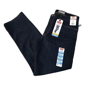 New Wrangler Mens Blue Jeans Dark Wash 36x30 Pockets Stretch Flex Comfort
