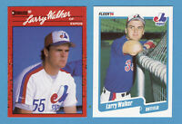 1990 LARRY WALKER DONRUSS #578 FLEER #363 ROOKIE 2 CARD  LOT EXPOS RCS 2020 HOF