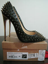NIB Authentic Christian Louboutin Black Leather Gold Heel Shoes Pumps 9 40 $1395