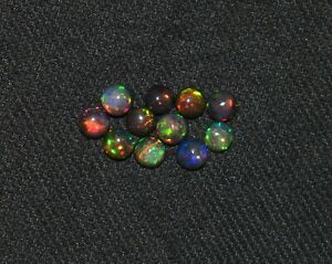 11Pcs 5MM Natural Ethiopian Wello Black Fire Opal Lose Gemstone Cabochon S3520