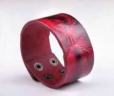 BL23 Red Cute Vintage Men's Surfer Leather Bracelet Wristband Wide Cuff New