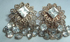 VINTAGE TIERED FILIGREE GOLD TONE DANGLE RHINESTONE CLIP EARRINGS IN GIFT BOX