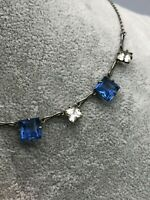 Art Deco Bezel Necklace Blue Clear Open Back Step Cut Glass Silver Collar Chain