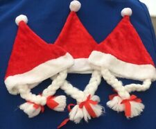 Plush Santa Christmas Hats Mrs Clause With Plats