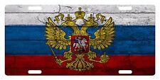 RUSSIA  Flag Custom License Plate Russian Emblem Coat Of Arms Wood Version