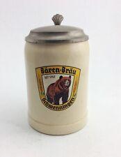 Vintage stoneware German Baren Brau Schwenningen lidded  beer stein with Bear