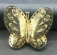 Vintage Gold Tone Butterfly Brooch Pin