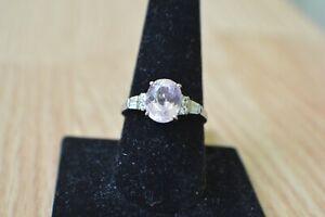 3.94ct Martha Roche Pink Kunzite / Topaz Ring Platinum over Fine Silver Size 10