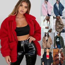 UK Womens Warm Teddy Bear Fleece Oversized Jacket Ladies Zip Up Coats Cardigans