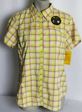 Dickies Performance Womens Short Sleeve Vented Button Up Shirt Check L Large NEW