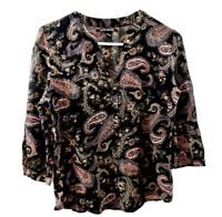 Lucky Brand Women's Button front Top Floral Paisley Boho 3/4 Sleeve Size S