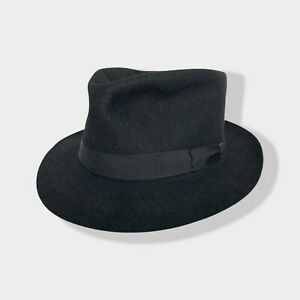 Vtg 1940s/1950s TRESS & CO Fedora ~ 7 1/2 ~ MADE IN ENGLAND black Trilby 40s 50s