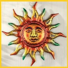 Blazing Sun Face Metallic Solar Sunburst Wall Art Indoor Outdoor Home Garden