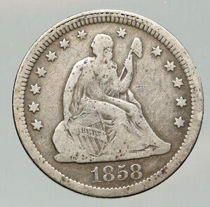 1858 P UNITED STATES US Silver SEATED LIBERTY Quarter Dollar Coin w EAGLE i92013