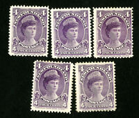 Newfoundland Stamps # 84 VF OG Hinged Lot of 5 Scott Value $212.00