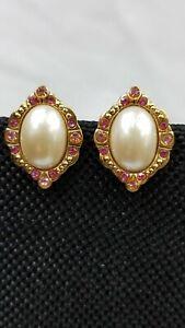 1928 Faux Pearl Pink Rhinestones Earrings Gold Tone Oval.   4