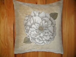 Pillow Cover Rose Bud Belgian  Chenille Silver Grey 17 x 17 inches