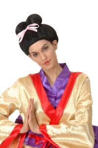 New Asian Lady Geisha Chinese Japanese Bow Oriental Style Fancy Dress Black Wig