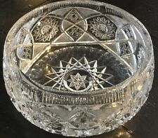 Estate Bohemian Hand Brilliant Cut Lead Crystal Round Fruit Candy Bowl Dish*