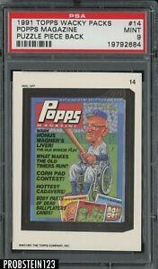 1991 Topps Wacky Packs Puzzle Piece Back #14 Popps Magazine PSA 9 MINT