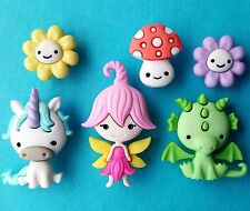 FAIRIES WELCOME - Baby Dragon Unicorn Toadstool Flower Dress It Up Craft Buttons