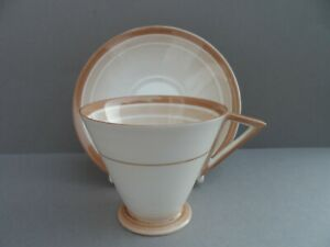 "A Shelley Art Deco ""Bands & Shades"" 12021 Eve shape demitasse cup & saucer C1932"
