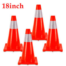 """4PCS 18"""" PVC Fluorescent Red Reflective Road Traffic Parking Lots Safety Cones"""