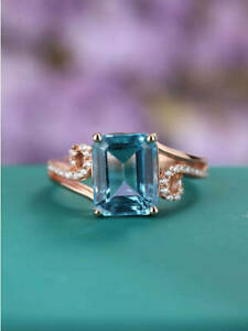 2Ct Emerald Cut Blue Topaz Solitaire Fancy Engagement Ring 14K Rose Gold Finish