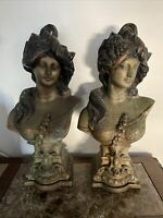 Antique Vintage Sculpture Victorian Female Brass Bust Heavy 18 Pounds Each