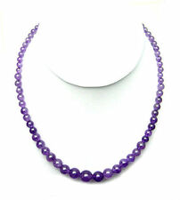 "Graduated Amethyst bead sterling silver necklace -  20"" NKL250001"