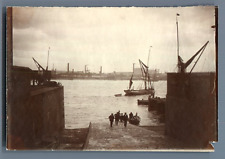 UK, Scene in a Harbor  Vintage silver print.  Tirage argentique  8x12  Cir