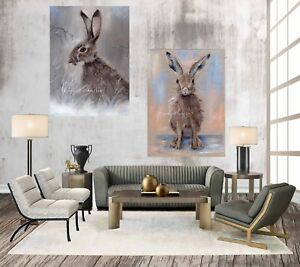 SET OF 2, PRETTY HARE & WINTER HARE CHUNKY BOX CANVAS WRAPS FROM MY ART PAINTING