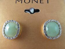 NWT MONET GOLD with LIGHT GREEN & CRYSTAL SQUARE BUTTON STYLE EARRINGS, Stunning